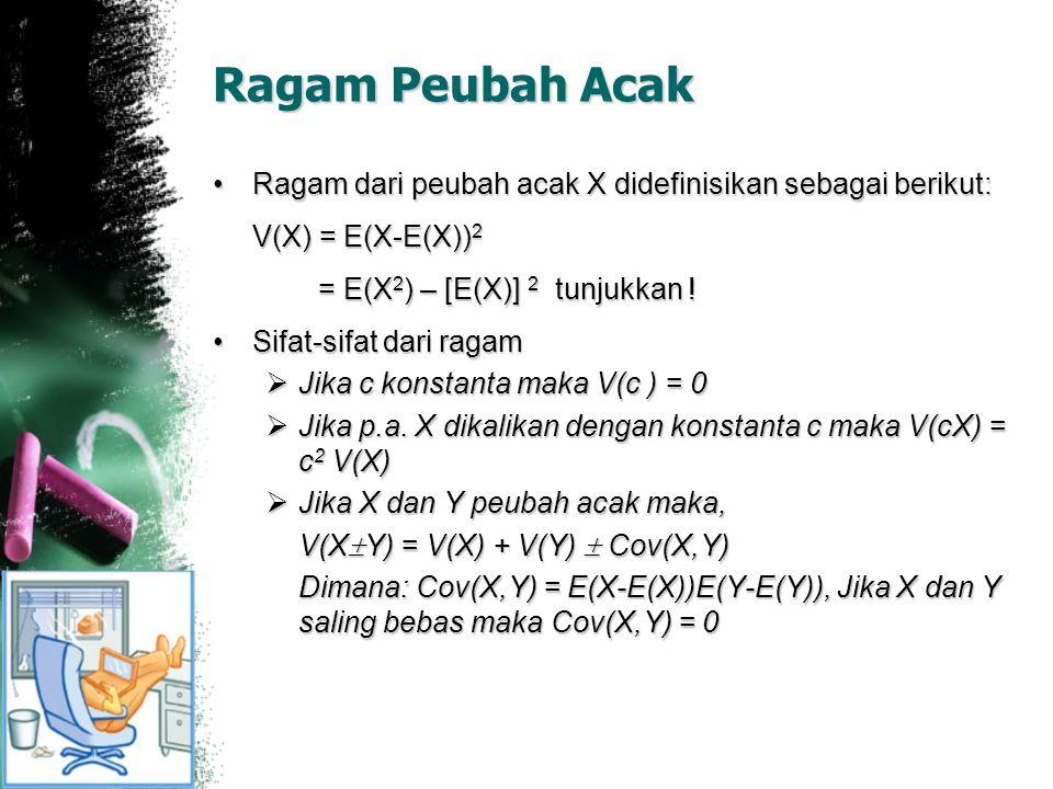 Ragam Peubah Acak Ragam dari peubah acak X didefinisikan sebagai berikut: V(X) = E(X-E(X))2. = E(X2) – [E(X)] 2 tunjukkan !